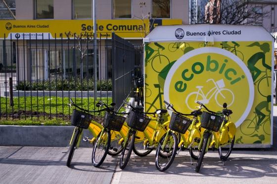 Bicis parqueadas en Buenos Aires. Fuente:  EcoBici B.A.
