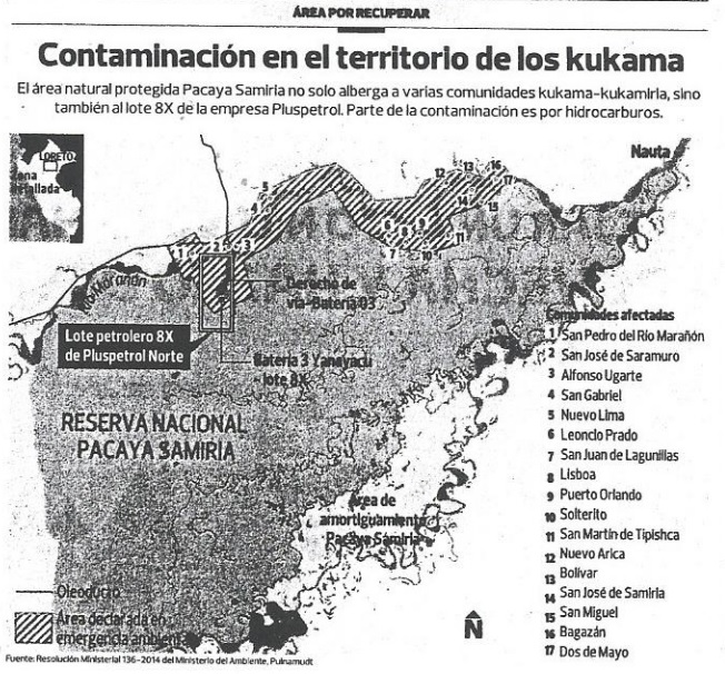 Contaminación en el río de los Kukama. El área natural protegida Pacaya Samiria no solo alberga a varias comunidades kukama-kukamiria, sino también al lote 8x de la empresa Pluspetrol.  Parte de la comunicación es por hidrocarburos (El Comercio).